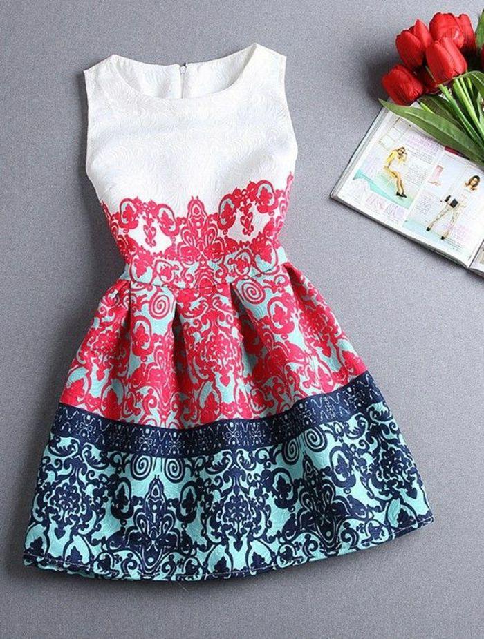 jolie robe d'été, fleurs, robe pas cher, robe habillée, robe blanc rouge bleu                                                                                                                                                      Plus