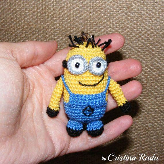 Minion with two eyes keychain minion by cutetoysbycristina on Etsy