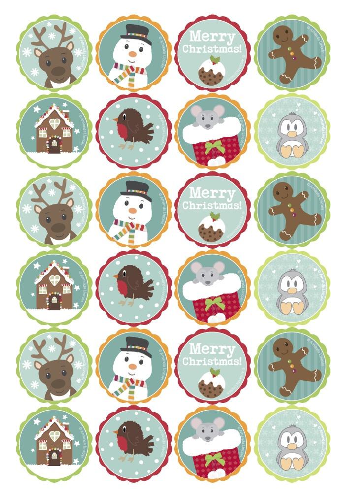 Digital, Printable Christmas Cupcake Toppers | wowthankyou.co.uk
