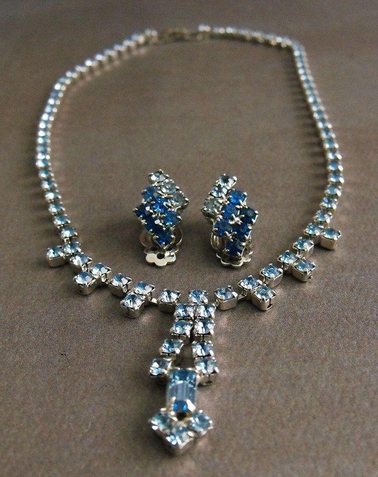 Vintage Blue Rhinestone Necklace Tri-tone Blue Rhinestone Earrings Silver Tone  | eBay