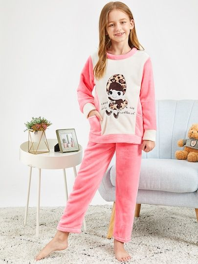 397a0c307c Girls Cartoon Embroidered Plush Pajama Set | SheIn.com Online ...