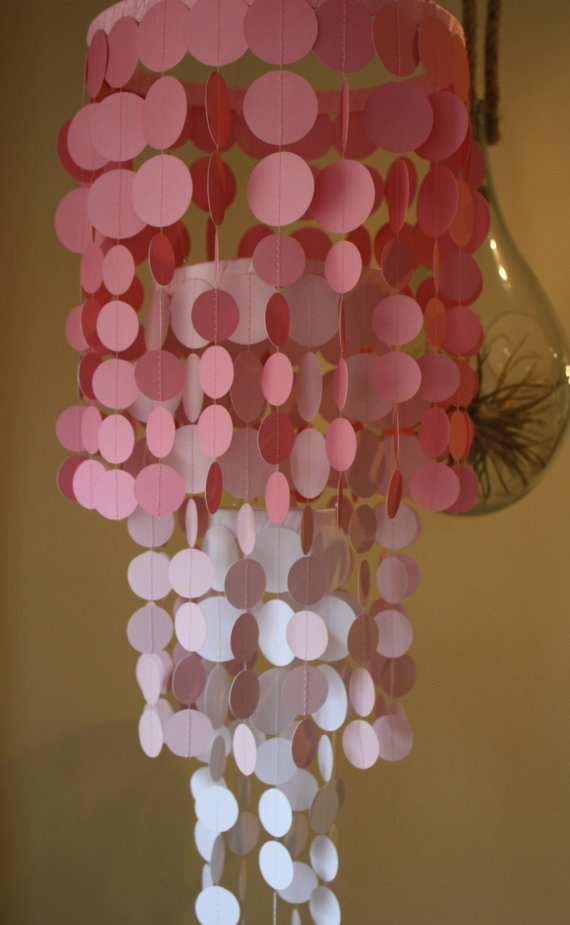 MUST HAVE for my girl's rooms! Choose your colors paper chandelier. I could DIY this with paint chips and a punch!