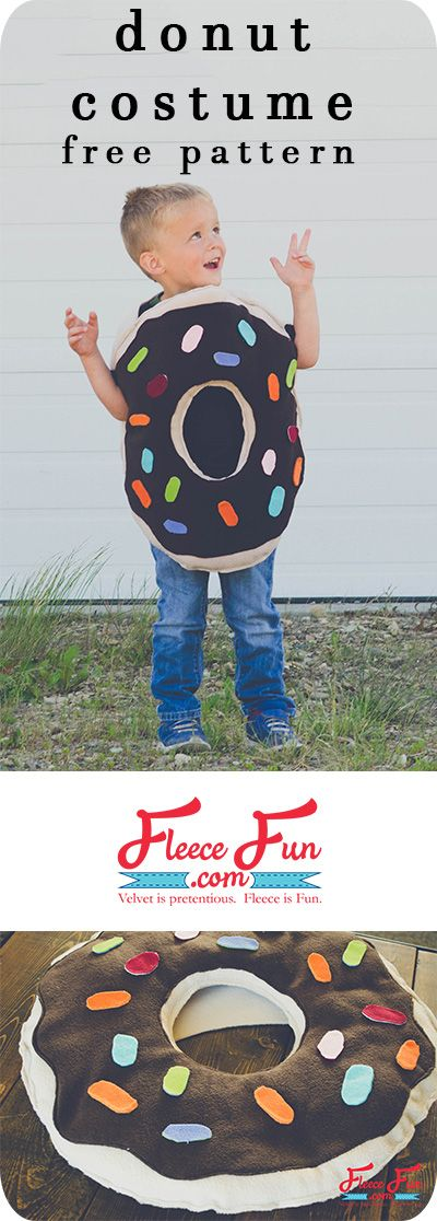 I love this donut costume DIY! It's straight forward sewing project that has a free pattern!  Perfect for Halloween and parties and easy to personalize! via @FleeceFun