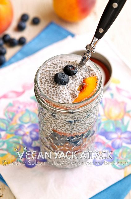Blueberry Peach Chia Parfait  3 Tbsp. Chia Seeds   ¾ Cup Unsweetened Non-Dairy Milk, I used So Delicious Unsweetened Coconut Milk   2 tsp. Maple Syrup   ¼ tsp. Vanilla Extract   Pinch of Salt   1 Medium Peach, Sliced Thinly (equal to roughly ½ Cup)   ½ Cup Blueberries   Optional: Hulled Hemp Seeds for sprinkling