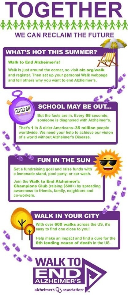 Join your local Walk to End Alzheimer's today and help us #EndALZ! #Walk4ALZ #WTEA