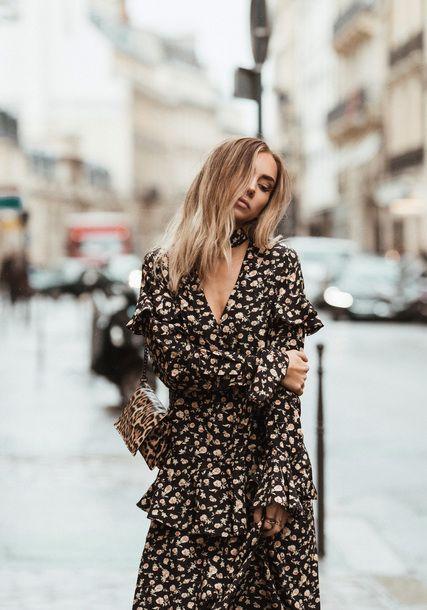 Dress: tumblr floral floral long sleeves long sleeve ruffle ruffle bag printed bag v neck v neck