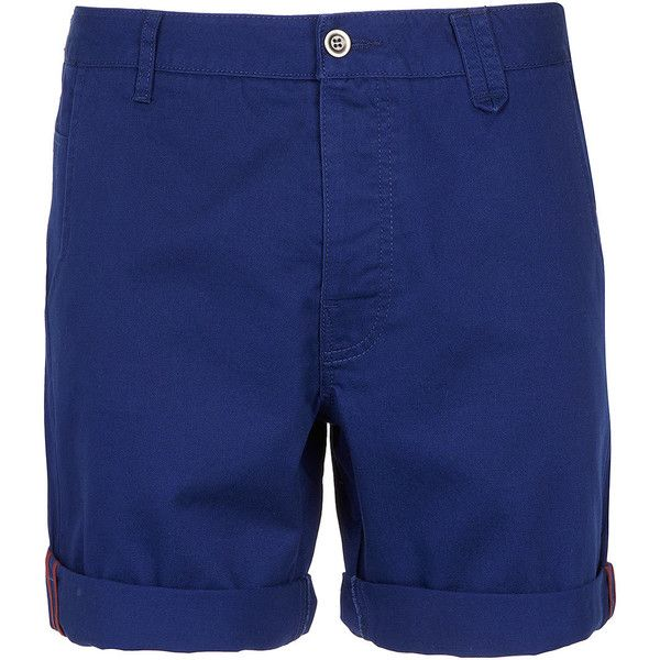 TOPMAN Blue Chino Shorts ($32) ❤ liked on Polyvore featuring men's fashion, men's clothing, men's shorts, shorts, blue, men, mens clothing, men's apparel, mens blue chino shorts and mens chino shorts