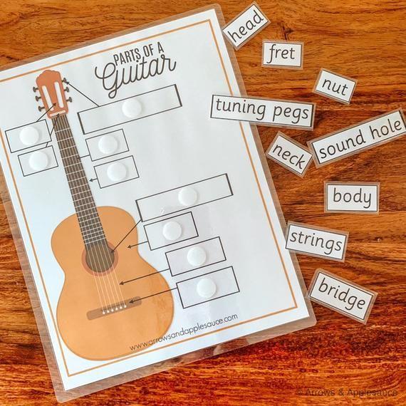 Guitar Parts Printable Memory Game, Learning Guitar ...