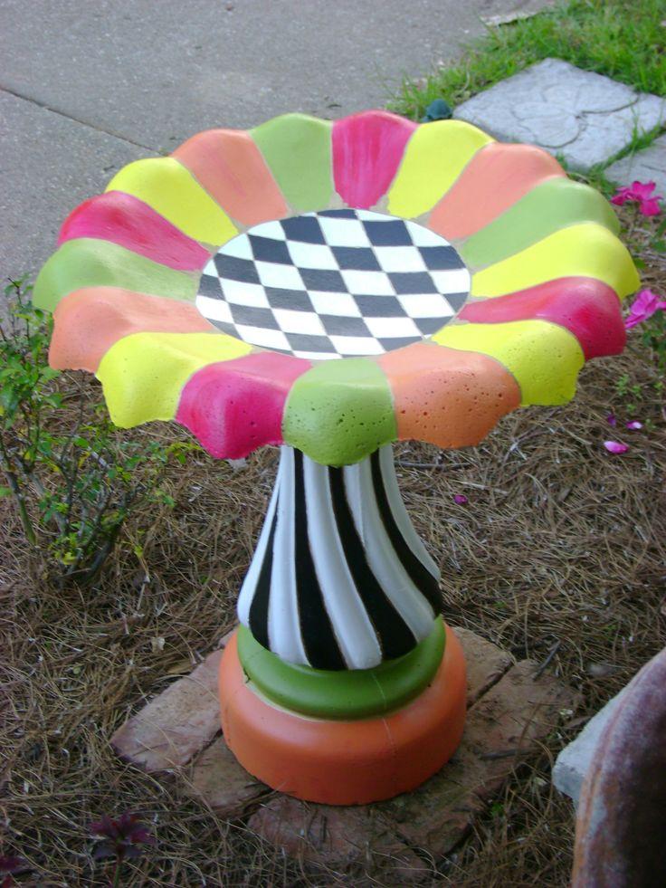 Funky Birdbath - new birdbath, primer, acrylic outdoor paint, water-based sealer