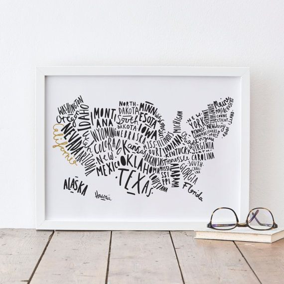 8x10 Usa Map Print United States Map Typography By Oldenglishco