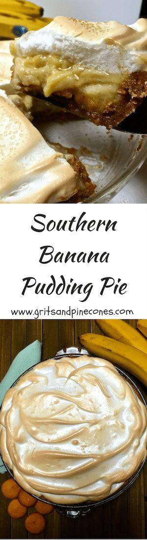 Southern Banana Pudding Pie has a vanilla wafer crust,  bananas, decadent vanilla custard, and light as a cloud meringue.  via @http://www.pinterest.com/gritspinecones/