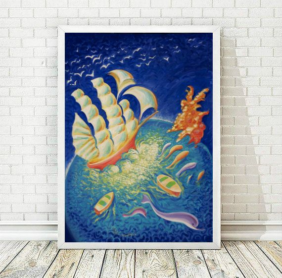 Abstract  Print, Boat Art Print, Printable Art, Contemporary Art, Home Decor, Boat Painting, Folk Art, Printable Poster,  INSTANT DOWNLOAD by AthinArtPrint on Etsy