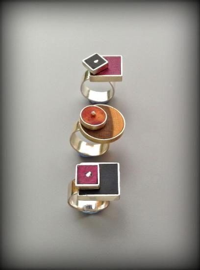 Handcrafted Rings - Rosa Higuero - Silver and wood