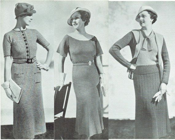 Vintage 1930s Patterns Crochet Knitting New Town and ...
