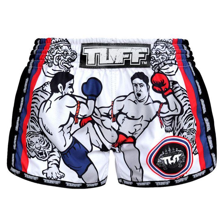 Q Muay Thai Boxing Shorts Kids MMA Grappling Shorts Gym Vintage Youth Kick White #TuffSport