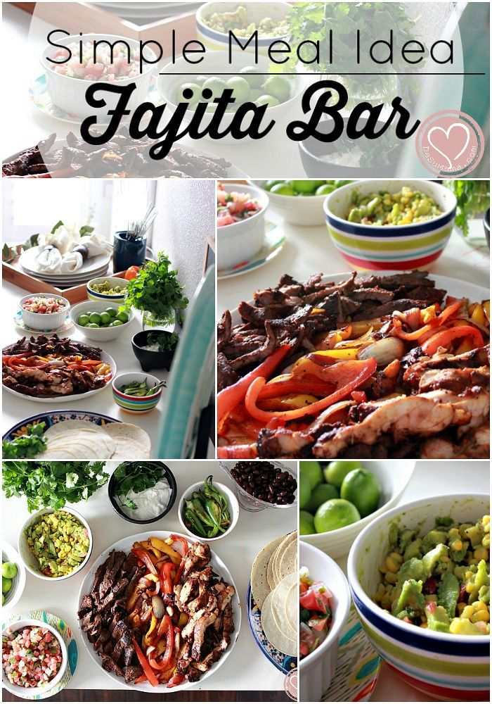 Simple Dinner Meal Idea For The Busy Mom: Mexican Fajita Bar! Buy the ingredients at Walmart.