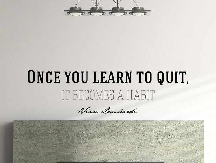 "Vince Lombardi Quote Motivational Typography Wall Decal Office Home Décor ""Once You Learn to Quit"" 42x12 Inches"