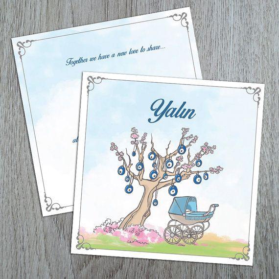 Geboorte aankondiging kaart Vintage kinderwagen en door nhlcards