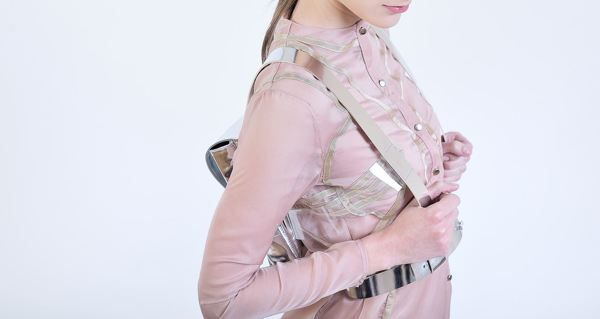 Silver leather backpack with digital printed underlining | Alexandra Abraham