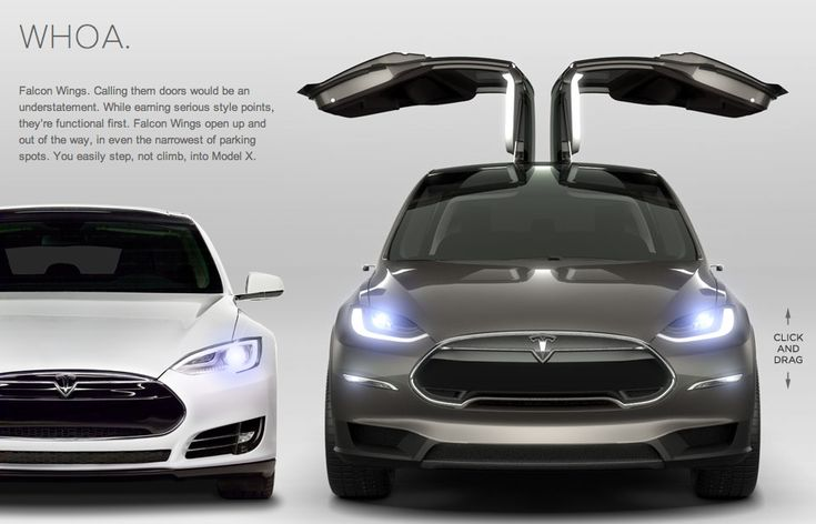 Tesla's Model X - an all electric three-row SUV expected to be out in 2014 at a base price of around $50,000. Tesla took a page out of the 'Back to the Future' Delorean. The Falcon Doors will allow for easy entry/exit and save you the worry of dinging cars in those cramped parking lots.