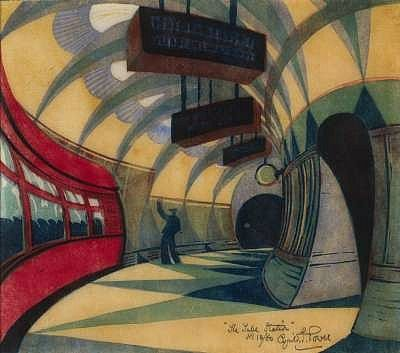 'The Tube Station' (c.1932) by British artist  printmaker Cyril Power (1874-1951). Linocut, 12.625 x 13.625 in. via the Met