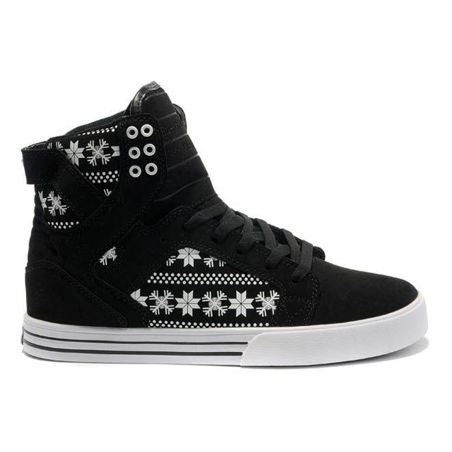 Nike Supra Shoes Skytop Black White Snowflake Leatehr Women