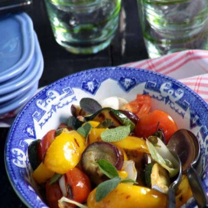 Sallad på grillade grönsaker - Mitt kök