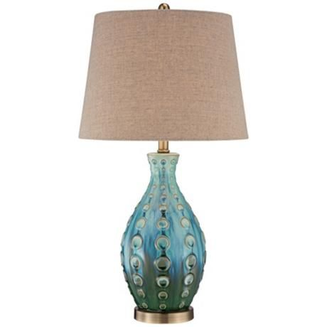 Teal Table Lamps: Mid-Century Ceramic Vase Teal Table Lamp,Lighting