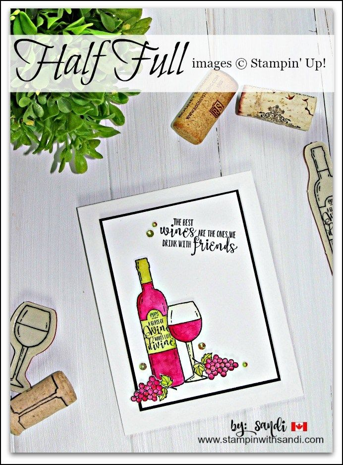 Is Your Glass Half Full Stampin Up stamp set, card by Sandi @ stampinwithsandi.com, sandi maciver, stampin with sandi, Canadian Stampin Up Demonstrator, hand stamped card ideas, Stampin UP card ideas.