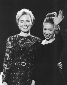Hillary Rodham Clinton, pictured with her daughter Chelsea, was a prominent supporter of women's rights in the 1990s during her husband Bill Clinton's years as U.S. president.