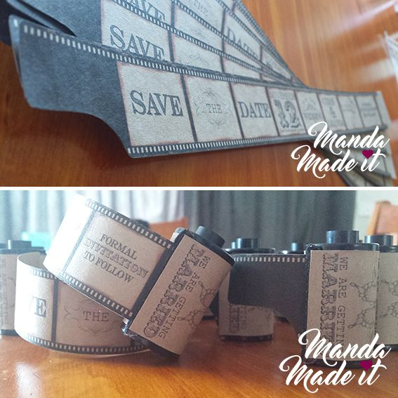 DIY Film canister save the date. Film strip save the date.
