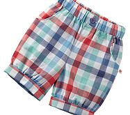 Super cute baby boy's blue check shorts with elasticated waist.