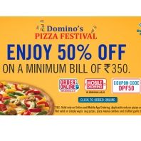 Domino's Pizza Festival Offers : Dominos Pizza New Year 1 Jan Offer : 50% OFF + 25% Cashback on Mobikwik - Best Online Offer