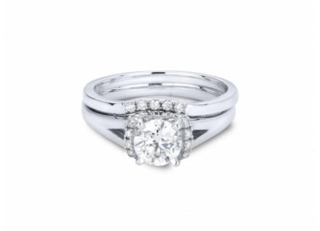 Possess a true Canadian treasure with this Victor Diamond 18k Palladium & White Gold Canadian Victor Diamond 1.24ctw Bridal Ring in VS quality with matching non-Canadian Palladium & White Gold .05ctw wedding band