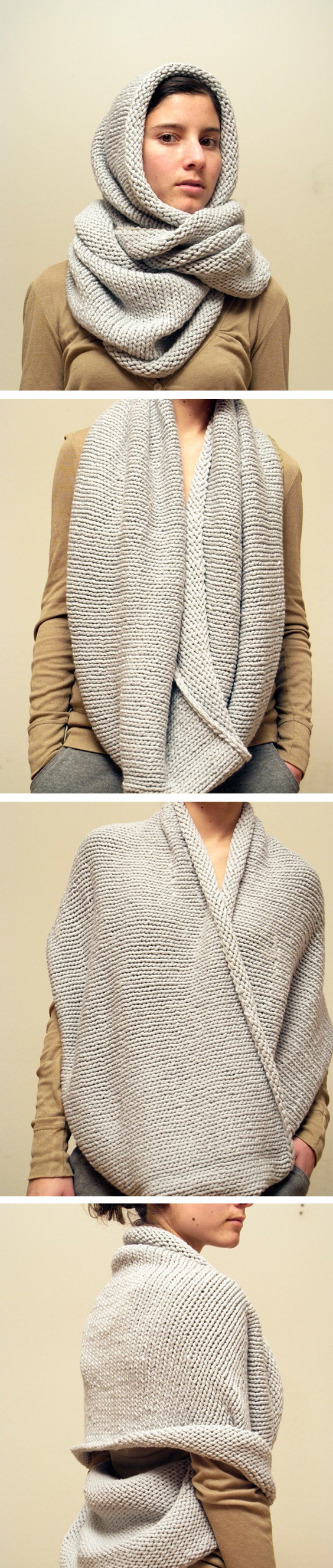 eternity scarf- I could totally whip this up fast, especially with yarn