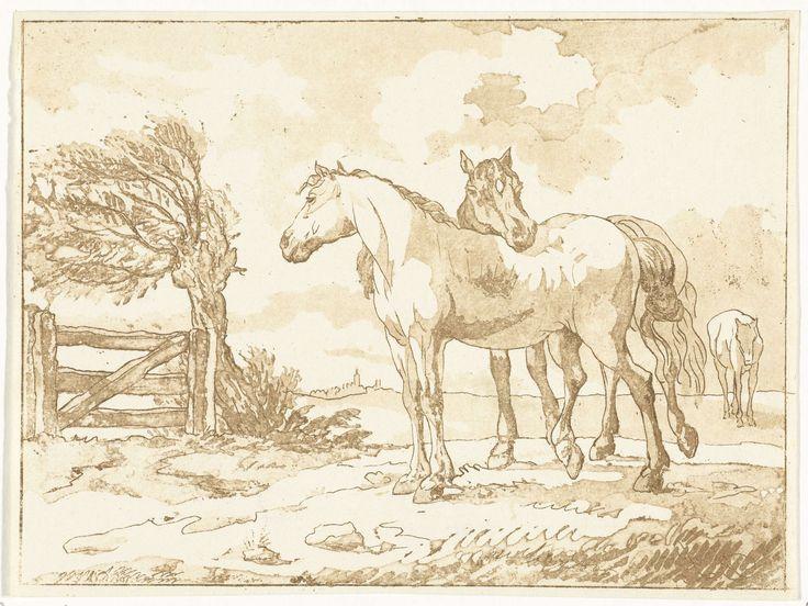 Anthonie van den Bos | Paarden, Anthonie van den Bos, 1778 - 1838 | Twee paarden bij een hek met een knotwilg. Op de achtergrond een derde paard en in de verte een dorp.