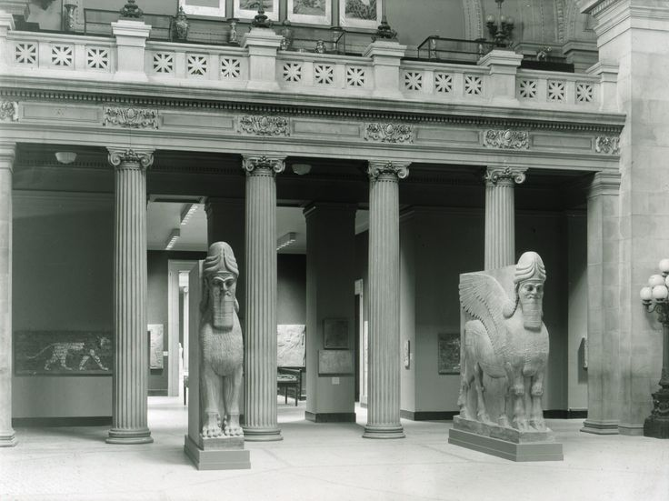 This 1933 photograph of the Great Hall shows the Assyrian human-headed winged bull and winged lion (lamassu). These sculpture are now on view in The Raymond and Beverly Sackler Gallery for Assyrian Art (401) in the Ancient Near Eastern Art department.