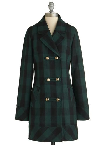 Back to Cool Coat, #ModCloth: Plaid Coats, Fashion Modern, Black Plaid, Clothing Deux, Casual Fall, Tulle Clothing, Black Watches, Vintage Coats, Retro Vintage