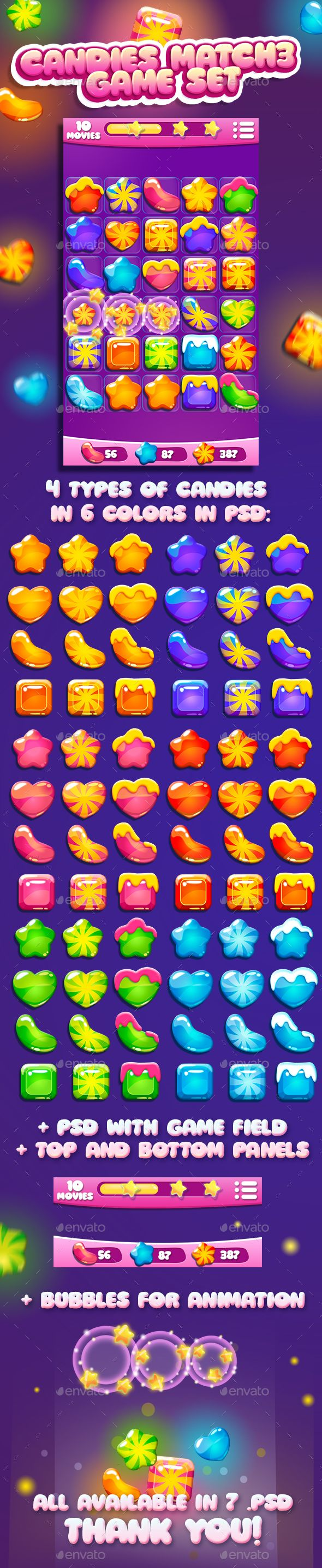 Candies for Match3 Game Set + game UI Download here: https://graphicriver.net/item/candies-for-match3-game-set-game-ui/13459855?ref=KlitVogli