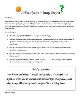 Mystery Object Sharing- A Descriptive Writing Assignment FREEBIE