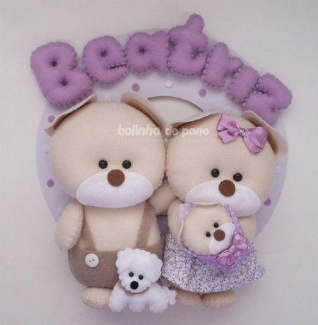 Enfeite Maternidade Família Ursos 7 - Bolinha de Pano