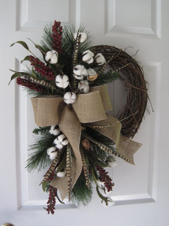 After Christmas Sale Valentine Wreath Cotton Boll Wreath