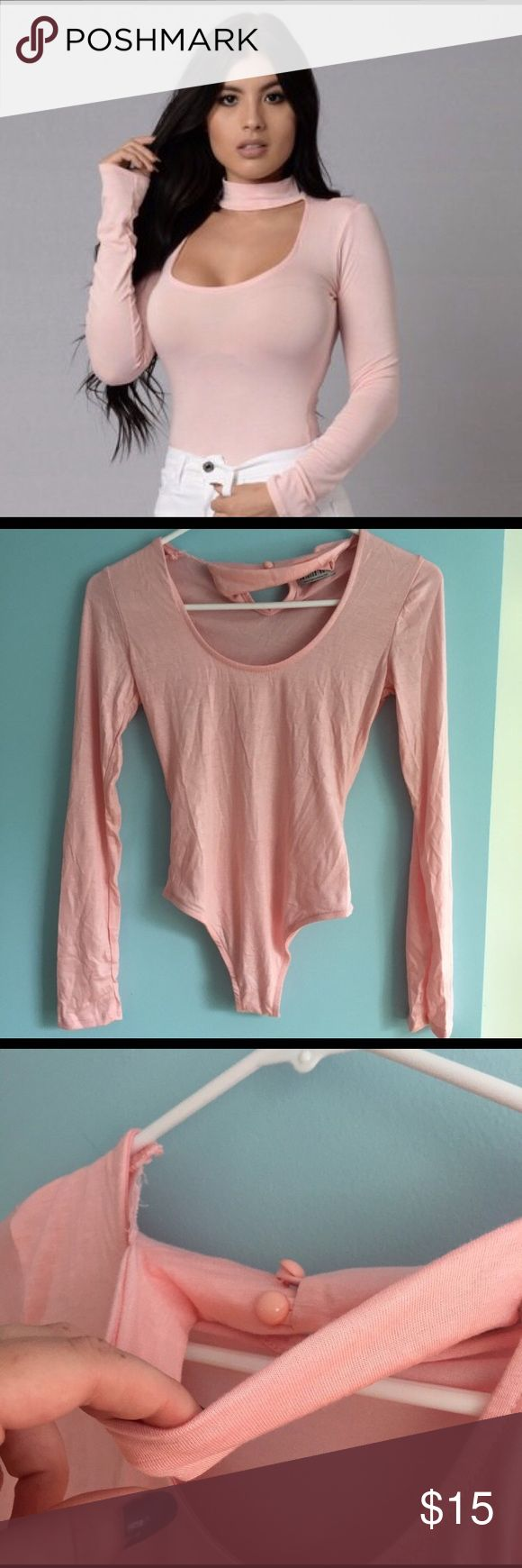 NEW spandex body suit in baby pink BRAND NEW, NEVER WORN baby pink long-sleeved spandex bodysuit w/ choker neckline. Fashion Nova Tops