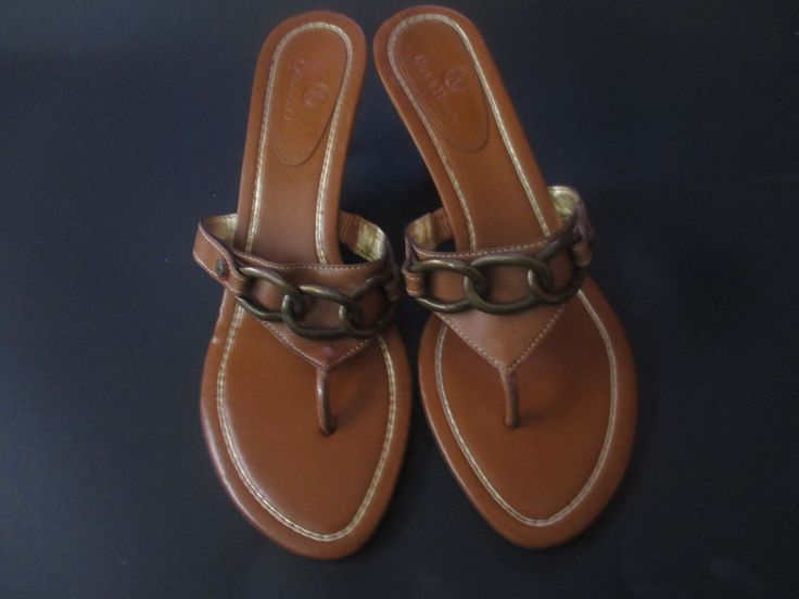 Cole Haan Chain Buckle Tan Leather Kitten Heel Thong Toe Sandal Shoe Size 8.5 M #COLEHAAN #THONGTOE