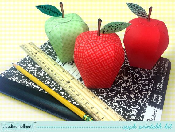 apple candy box kit - party favors, teacher gifts, back to school, Rosh Hashanah treat boxes - printable PDF - INSTANT downloa on Etsy, $4.99