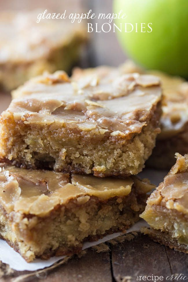 Glazed Apple Maple Blondies are delicious and moist apple blondies that are glazed with a caramel maple glaze.