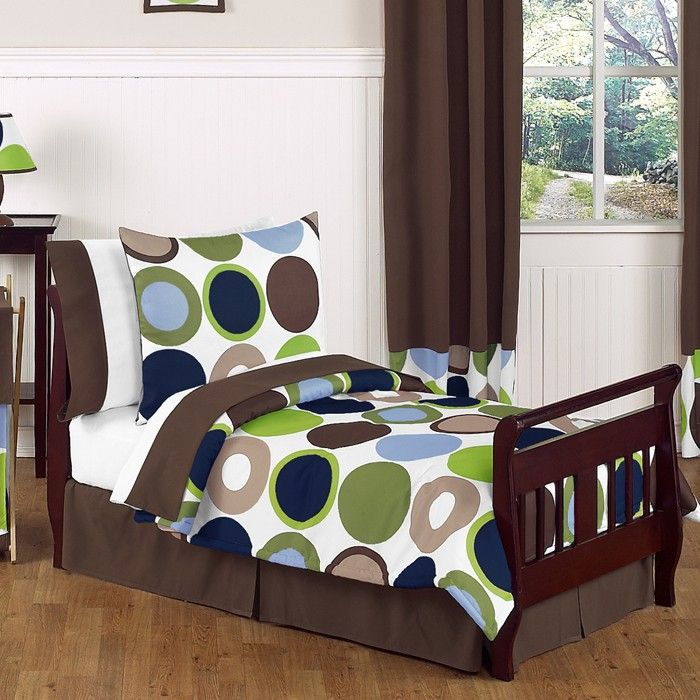 Polka dots are all the rage.  Green, blues and browns easily blend with most decors.  Designer Dot 5pc Toddler Bedding Set at www.tot2teenonline.com.