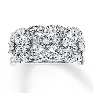 A floral design of sparkling diamonds and milgrain detailing with scalloped edges lends vintage appeal to this gorgeous anniversary band for her. Styled in elegant 10K white gold, the ring has a total diamond weight of 1/5 carat. Diamond Total Carat Weight may range from .18 - .22 carats.
