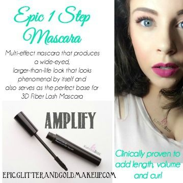 EPIC MASCARA, it lives up to its name. Increases Volume and Curl like no tomorrow!! Looking for a new One-Step? Look no further, because this baby does it all. Proven better those other brands with the black and white bags.   EPIC.GLITTERANDGOLDMAKEUP.COM