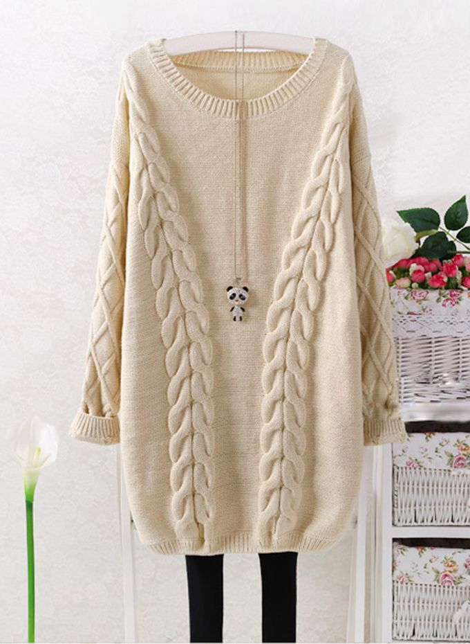 Cable Knit Long Length Oversize Sweater - 1